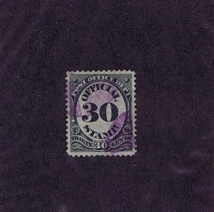 SC# O55 USED 30 CENT OFFICIAL STAMP POST OFFICE DEPT, 1873, PURPLE CANCEL