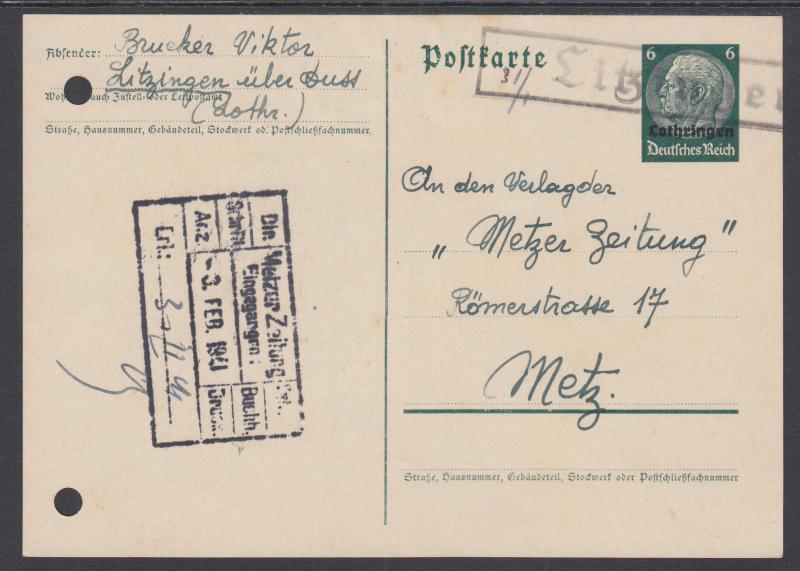 Germany, Occupation of Lorraine, H&G I31 uised 1940 6pf Postal Card to Metz