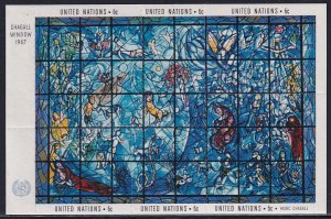 UN NY 1967 Sc 179 Stain Glass Window Created by Artist Marc Chagall Stamp SS MH