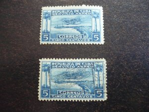 Stamps - Cuba - Scott# C1 - Mint Hinged and Used 2 Stamps