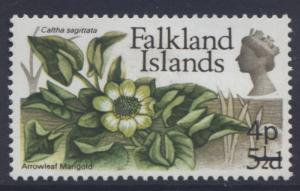 Falkland Is-Scott 203-Flowers-Overprint1971-MVLH-Single 4p on a 5.1/2p Stamp
