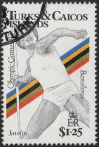Turks & Caicos Islands 1991 $1.25 Javelin (Olympic Games, Barcelona) used