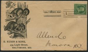 1¢ GREEN 1887 ISSUE W/ BALTIMORE MACHINT BL3671