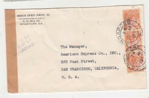 STRAITS SETTLEMENTS, 1940 censored cover to USA, KGVI 4c. Orange (3)