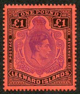 Leeward Is KGVI SG114c One Pound Violet and Black on Scarlet Perf 13 U/M