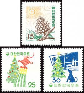 Korea 265-67 mnh 1957 Christmas