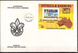 Barbuda, Scott cat. 986. 16th World Scout Jamboree s/sheet. First day cover.