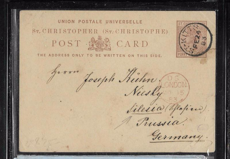 ST CHRISTOPHER (PP1301B) QV 1 1/2D PSC TO GERMANY WITH MSG