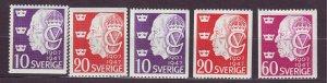 J22851 JLstamps 1947 sweden set mh #386-9 gustaf