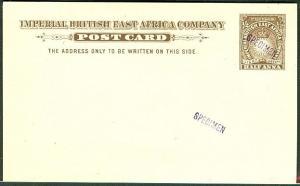 """BRITISH EAST AFRICA 1893 H&G #1 ½ Anna """"SPECIMEN card"""