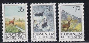 Liechtenstein # 849-851, Wild Game, NH, 1/2 Cat.