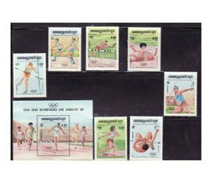 Cambodia - Olympic Games on Stamps - 7 Stamp & S/S Set  488-95