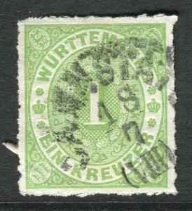 GERMANY;  WURTTEMBERG early 1869 early classic rouletted issue used 1k. value