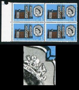 Spec W83a 1966 3d Westminster Abbey with Diadem Flaw Block of 4 U/M