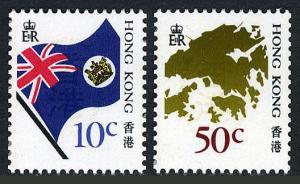 Hong Kong 509-510, MNH. National Flag, Map of Hong Kong, 1987