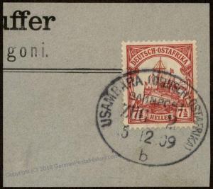 Germany 1909 East Africa Ostafrika DOA Usambarabahn Zug Train Bahnpost Can 85380