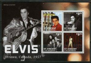 ST. VINCENT GRENADINES ELVIS PRESLEY OTTAWA  CANADA SHEET OF FOUR MINT NH