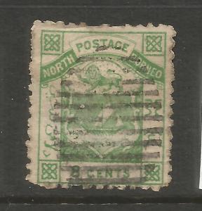NORTH BORNEO  1883  8c  ARMS  FU  P12   SG 7