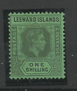 Leeward Is, 1938 Sg 110, 1/- Black & Emerald, Lightly Mounted Mint {C/W 336}.