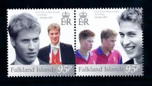 [72071] Falkland Islands 2003 21st Birthday Prince William Pair MNH