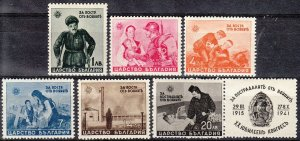 Stamp Bulgaria SC 0414-9 1942 WWII War Victims Aid Soldier Queen Ioanna Set MNH