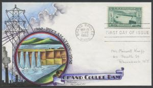 #1009 GRAND COULEE DAM ON KNAPP FDC HAND PAINTED CACHET HW1051