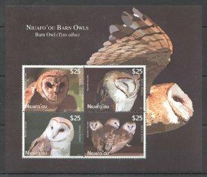 EC219 2012 NIUAFO'OU FAUNA BIRDS OWLS 1KB !!! MICHEL 110 EURO MNH