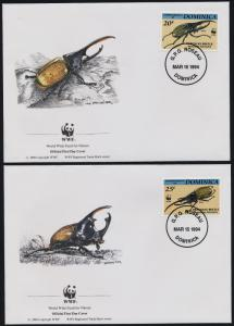 Dominica 1647-50 on FDC's - WWF, Insects, Beetles