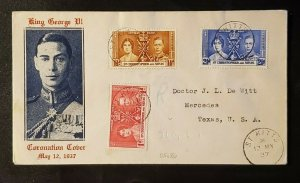1937 St Kitts and Nevis to Mercedes Texas King George VI Coronation Cover