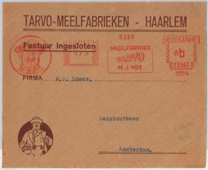 THE NETHERLANDS  -  MECHANICAL POSTMARK on COVER FRONT 1936  - GASTRONOMY Flour