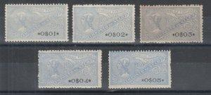 Portugal, Gerais, Barata 1061-1065 MLH. 1924 blue General Fiscals, 5 values