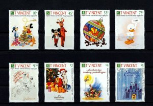 ST VINCENT - 1991 - DISNEY - MICKEY - CHRISTMAS CARD - NEW YEAR ++ MINT MNH SET!
