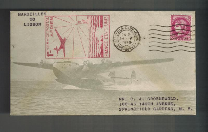 1939 Marseilles France First Flight Cover to USA FFC Sage Seaplane cachet