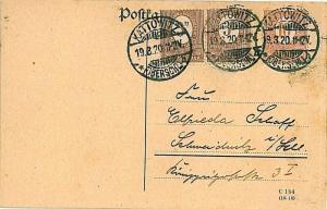 GERMANY Haute Silésie UPPER SILESIA-  POSTAL HISTORY Postcard 1920