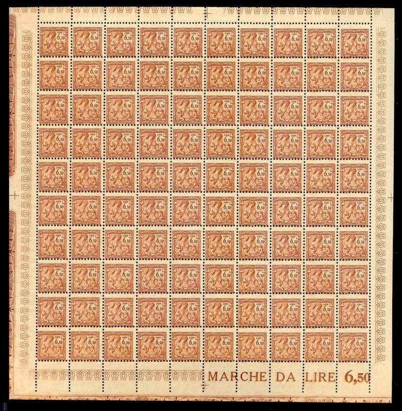 Italy 1941 6.50 L Fascist Social Security Stamp Mint Sheet #318B