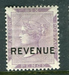SIERRA LEONE; 1890s early QV REVENUE Optd. on Mint hinged 6d. value