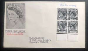 1955 Penang Malaya First Day Postcard Cover FDC Queen Elizabeth 2
