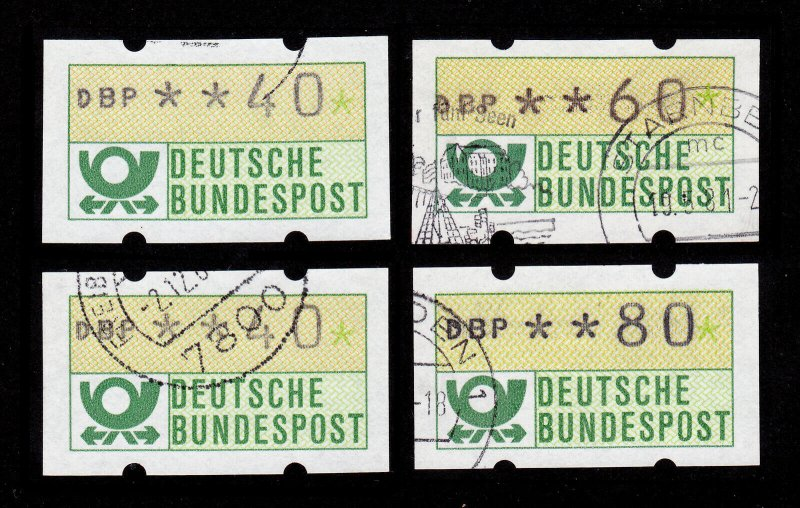 GERMANY DEUTSCHE BUNDESPOST DBP / ATM MACHINE STAMPS 4 USED