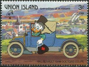 St. Vincent and the Grenadines 1989. Car Renault 12/16 (1910) (MNH OG) Stamp