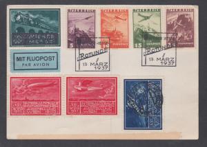 Austria Sc C32/C36, 1937 Air Mail Card, VIENNA FAIR cancels, 1933 WIPA labels