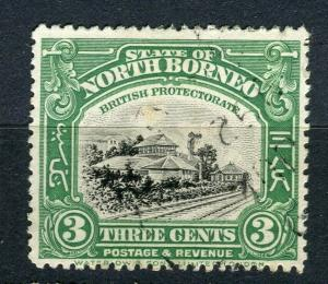 NORTH BORNEO; 1909 early Pictorial issue fine used 3c. value + Postal cancel