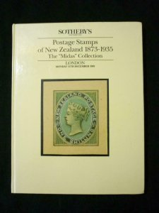 SOTHEBYS AUCTION CATALOGUE 1989 POSTAGE STAMPS OF NEW ZEALAND 'MIDAS' COLLECTION