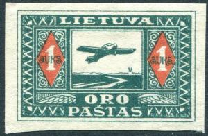 LITHUANIA-1922 Air Inauguration 1a Green & Red Imperf Sg 106u MOUNTED MINT