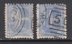New South Wales Sc 89, 89a, used. 1890 2½p Australia, inverted watermarks F-VF