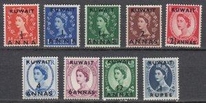 Kuwait - 1956 QEII surcharged complete set Sc# 120/128 - MNH (7549)
