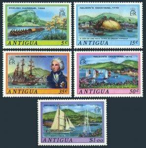 Antigua 369-373,373a sheet,MNH. Nelsons Dockyard,1975.War canoe,Sailing Ship,