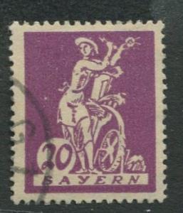 Bavaria -Scott 241 - Electricity & Water Wheel -1920 - Used - 20pf Stamp
