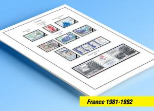 COLOR PRINTED FRANCE 1981-1992 STAMP ALBUM PAGES (52 illustrated pages)