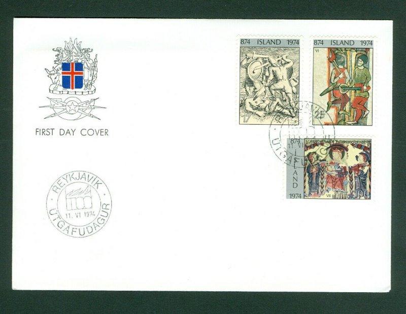 Iceland. FDC. 1974. Iceland Settlement 1100 Year. Scott # 464-66-471.