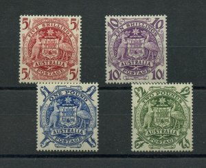 #218 to 221, 5/, 10/, 1Lb, 2Lb, Very light hinged VF Australia  Cat $253